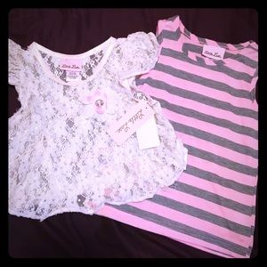 Little Lass Striped Top with Lace Overlay Size 5